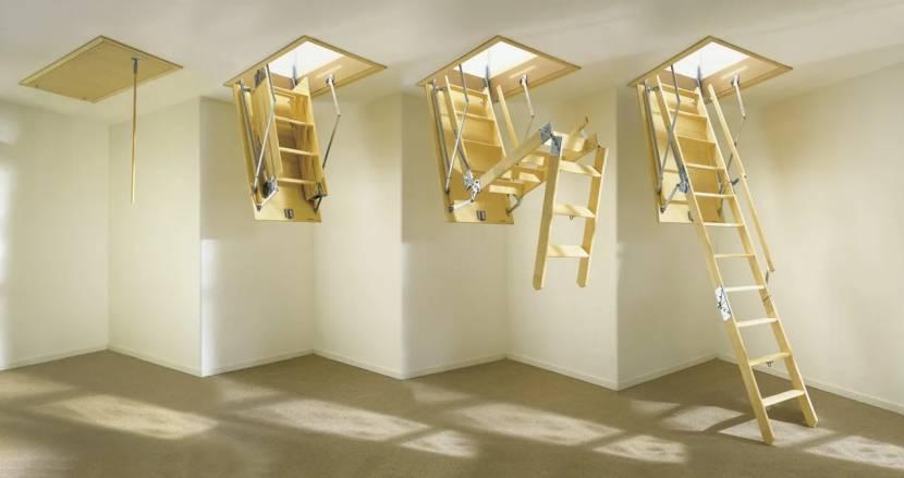 Деревянная приставная трёхсекционная лестница для чердака