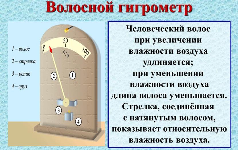 Волосяной гигрометр – инфографика