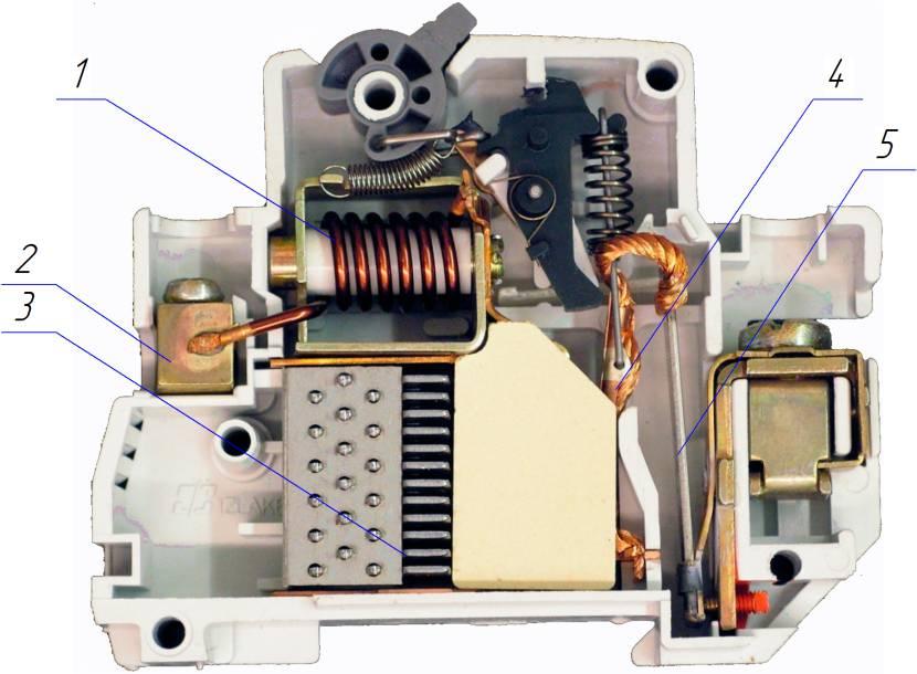 Электромагнитный (поз. 1) и биметаллический пластинчатый (поз. 5) расцепитель