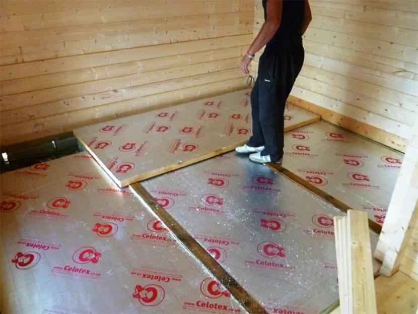 Укладка утеплителя при устройстве основы из бетона
