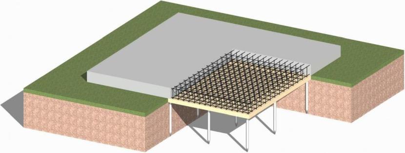 Фундамент из буронабивных свай и монолитной плиты