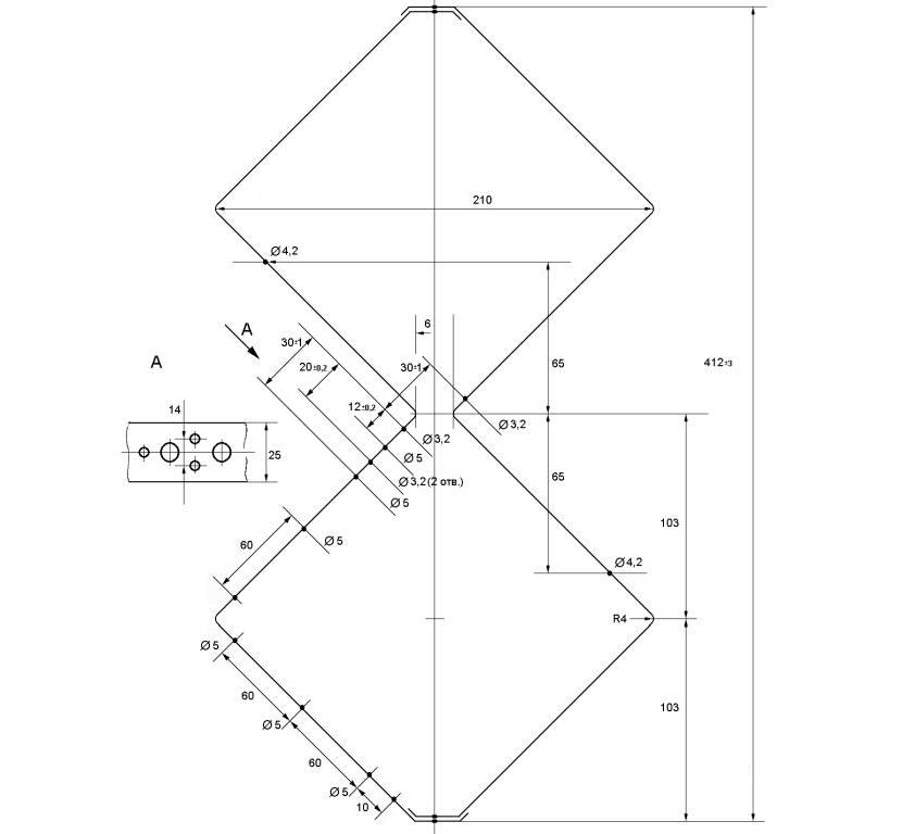 Схема ромбовидной проволочной антенны