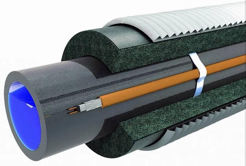Утепление трубы с греющим кабелем