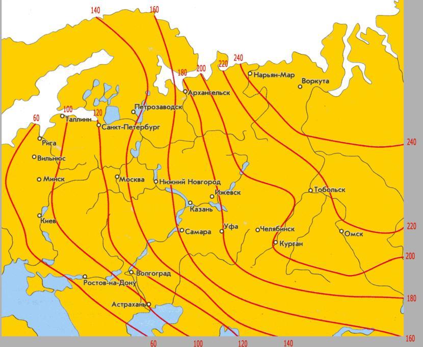 Карта сезонного промерзания грунтов