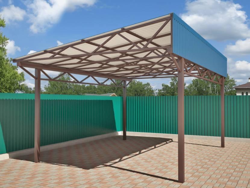 Пример односкатной крыши навеса