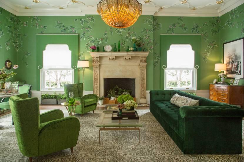 Зеленая гостиная в английском стиле
