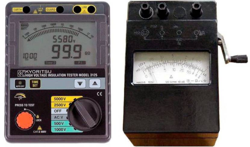 Два вида мегаомметров – ручной (справа) и электронный (слева)