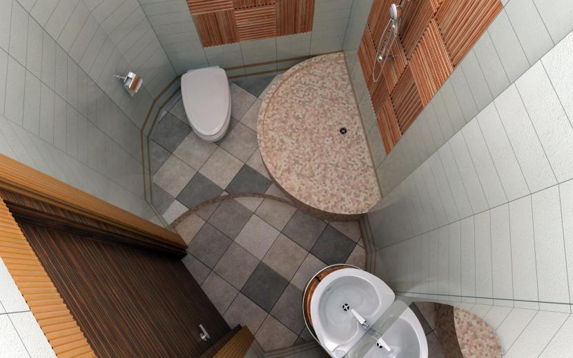 Маленький туалет в частном доме
