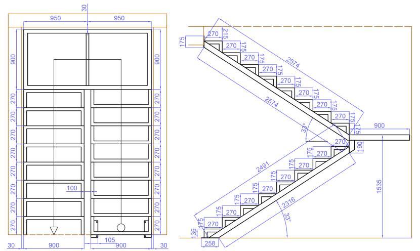 Проект П-образной лестницы с зазором