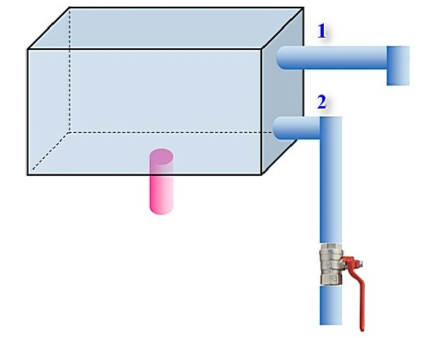 Резервуар с трубой для перелива и контроля минимального уровня жидкости