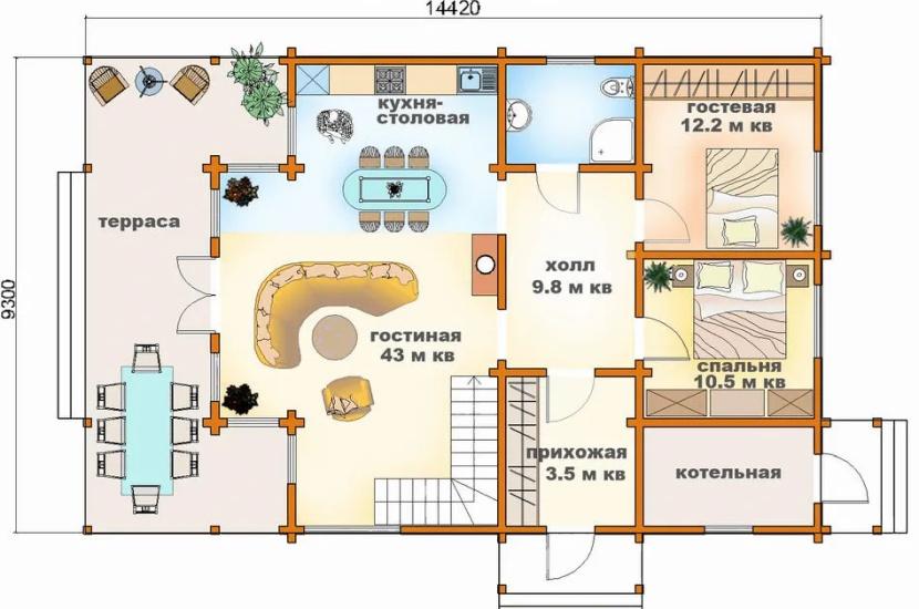План загородного дома с террасой
