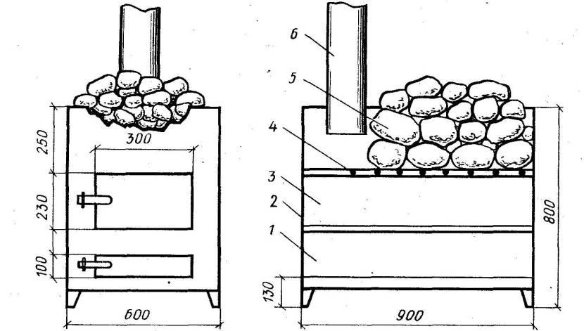Один из вариантов печки для бани (чертёж)