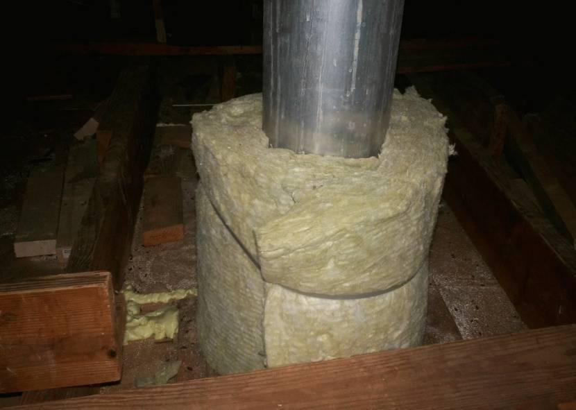 Обмотка дымохода минеральной ватой