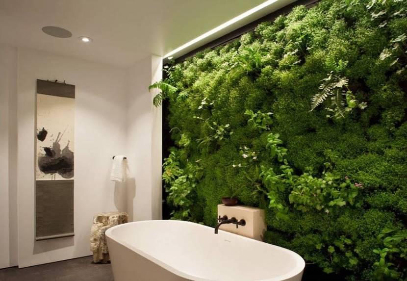 Фитостена в ванной комнате