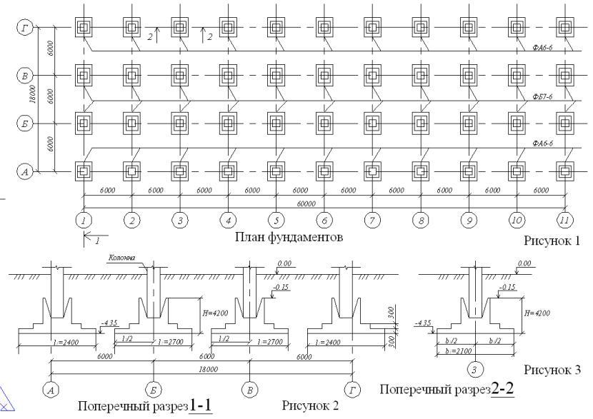 Пример чертежа фундамента