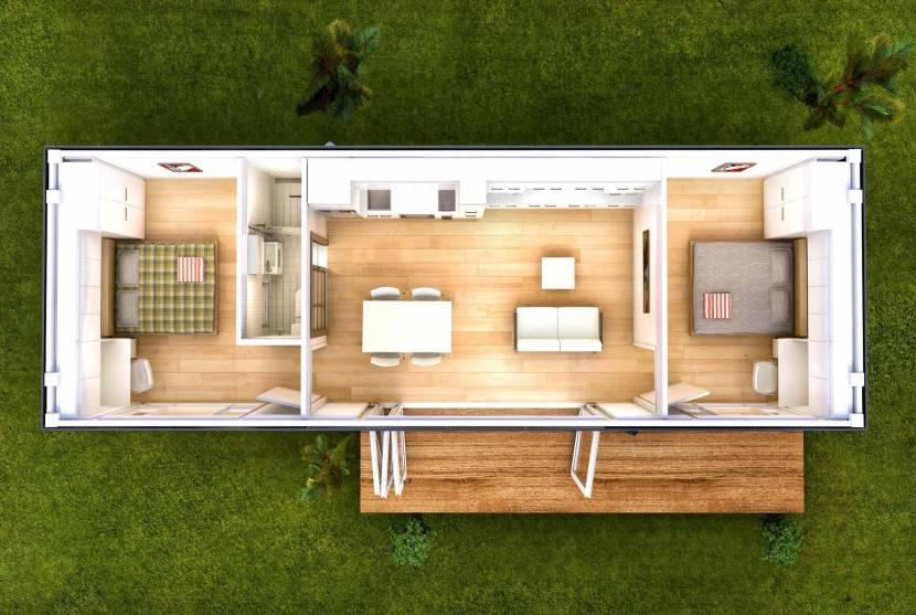 Планировка дачного или гостевого дома из контейнера