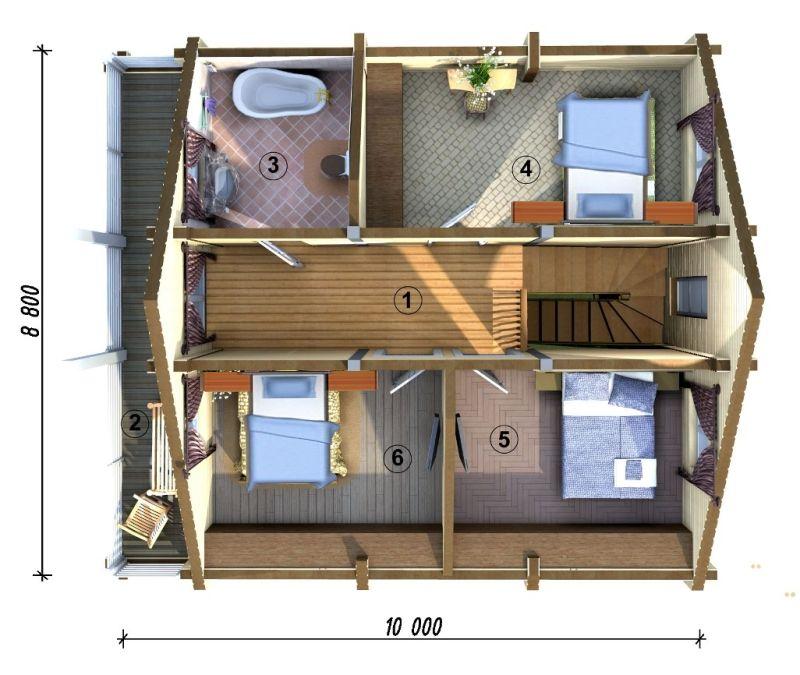 проект дома 8х10 с отличной планировкой с мансардой