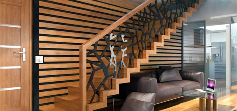 Эстетически привлекательная лестница из металла и дерева