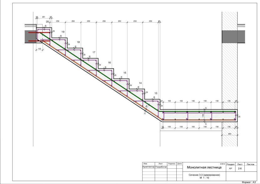 Пример чертежа лестницы